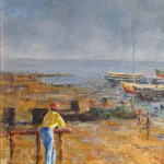 Man at Harbour - an oil painting by Heidi Beyers